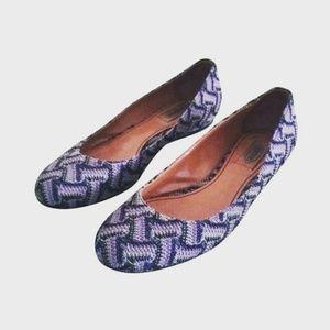 MISSONI Purple Knit Woven Ballet Flats 38
